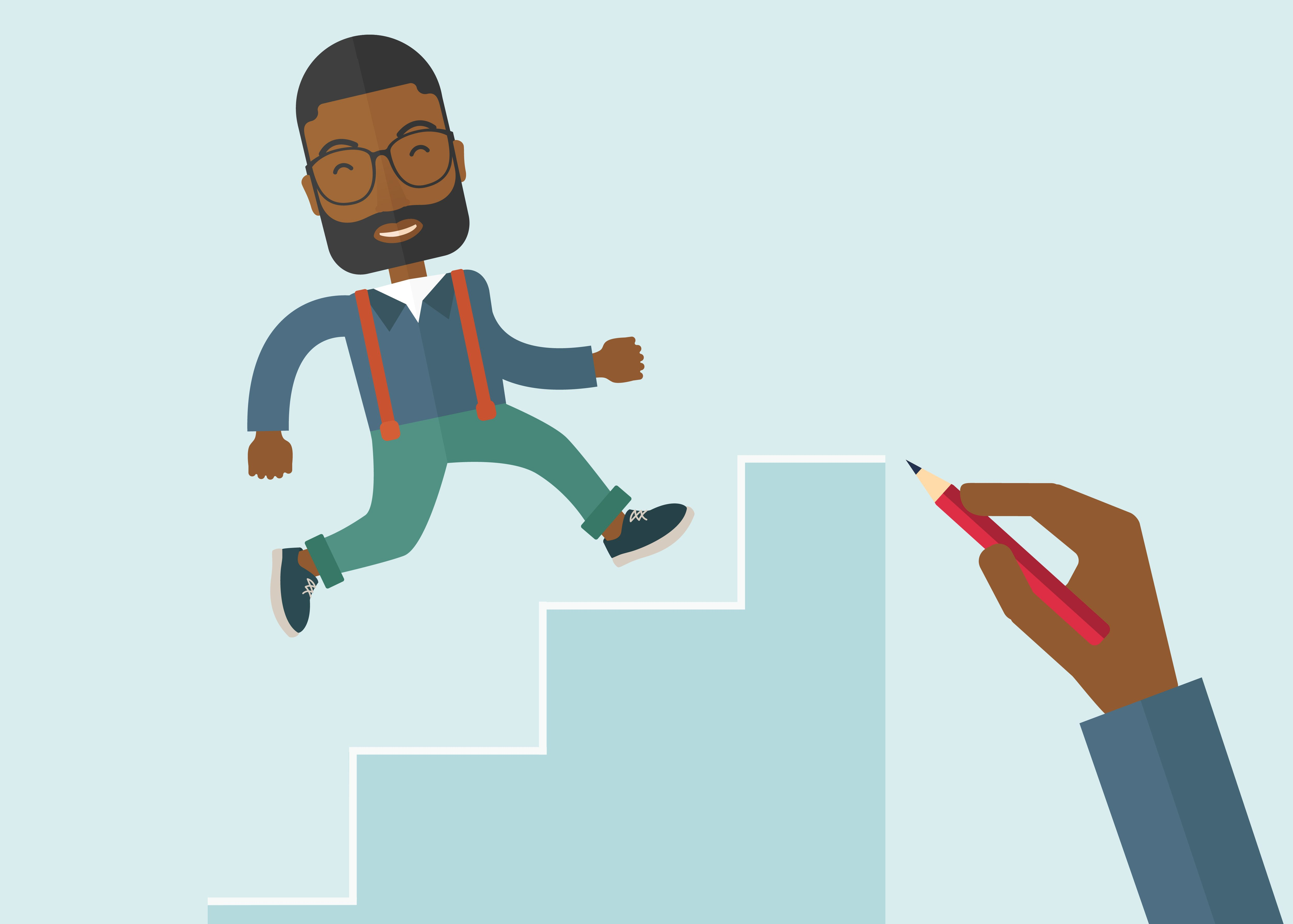 A hand with red pen drawn a black business man climbing up the stairs, a concept of success and career. A contemporary style with pastel palette soft blue tinted background. Vector flat design illustration. Square layout with text space on right top part.