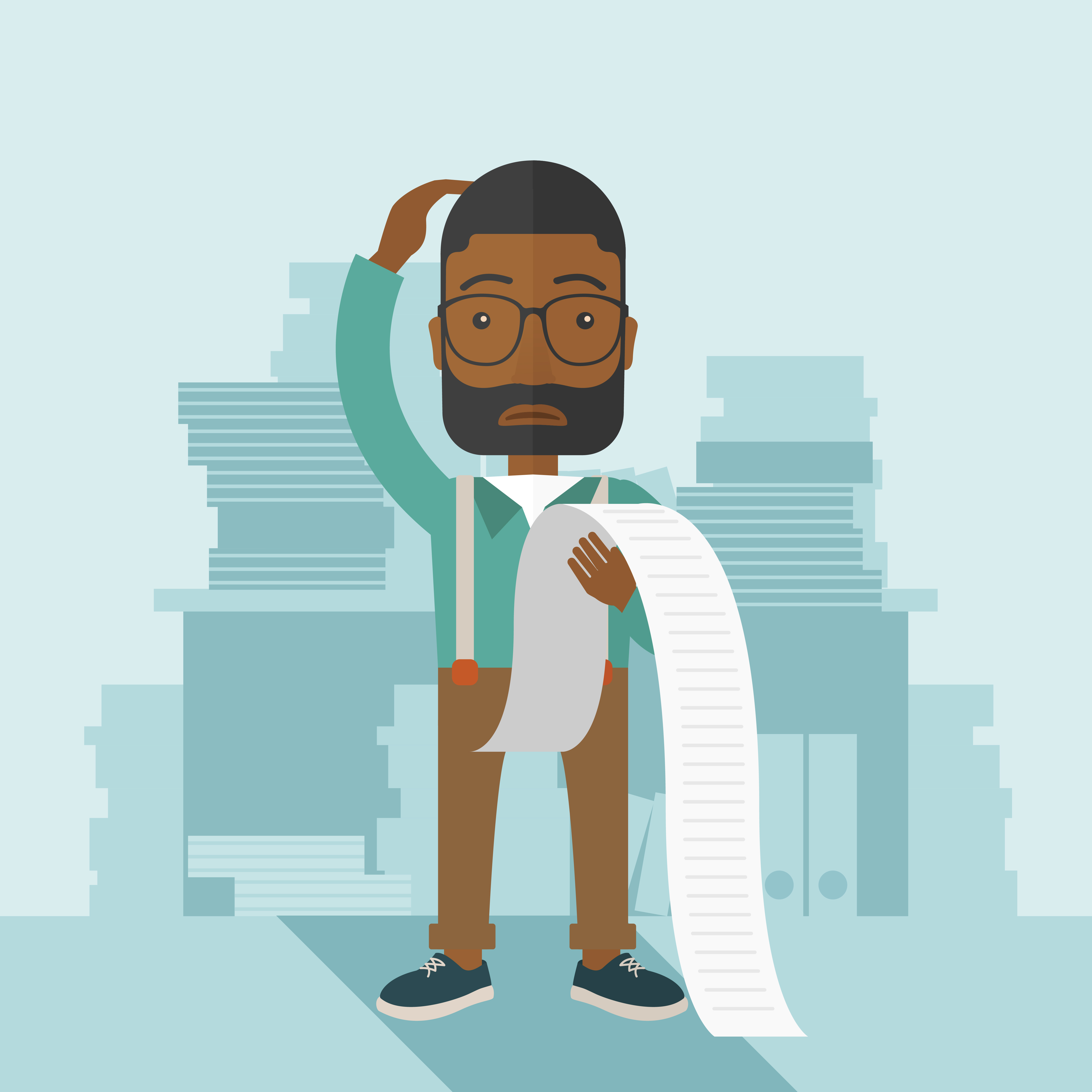 A sad african-american employee  standing holding a paper feels headache and worries about paying a lot of bills. Problem, worries concept. A contemporary style with pastel palette soft blue tinted background. Vector flat design illustration. Square layout.