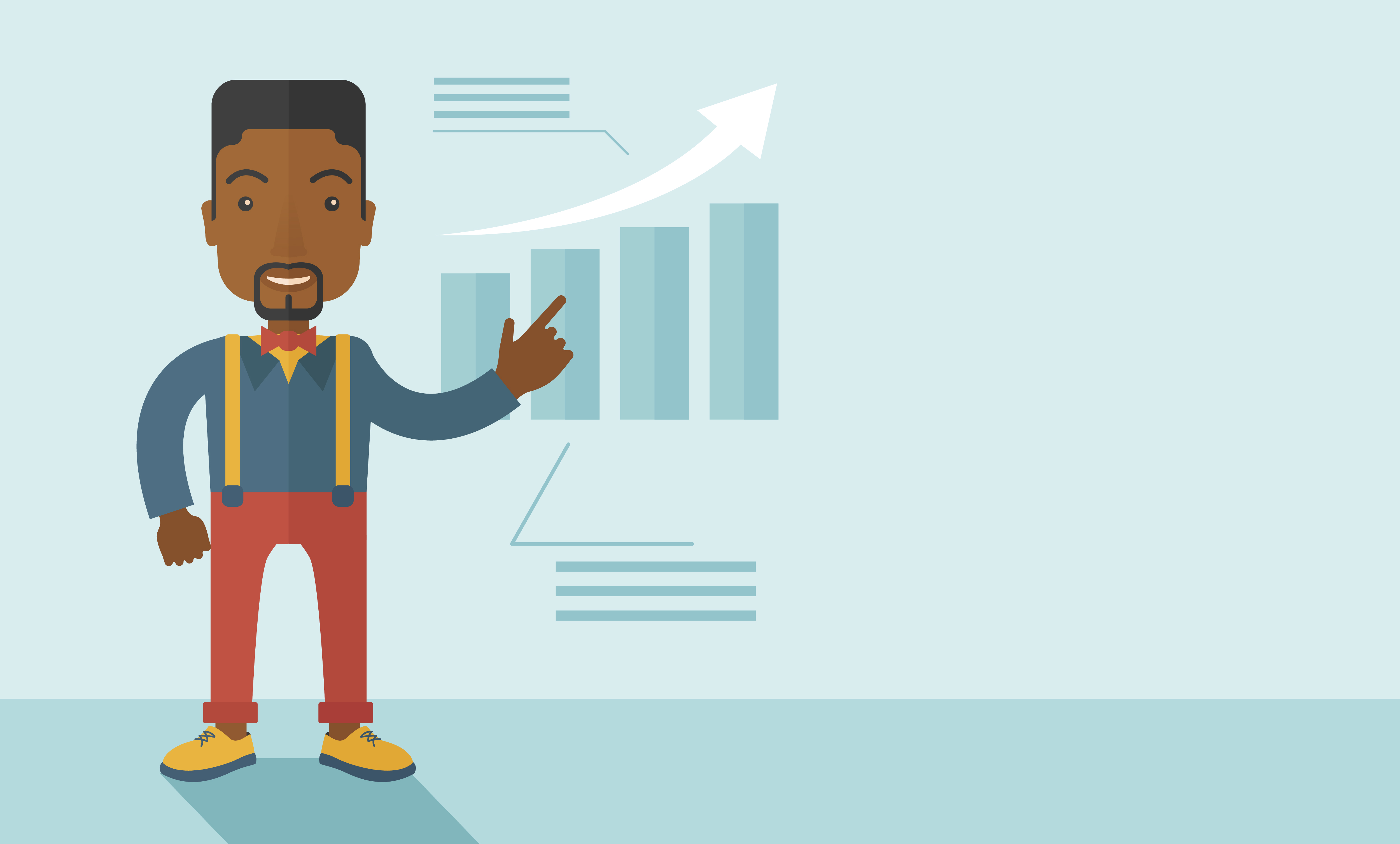 A black guy businessman viewing the company sales that grows. Business growth concept. A contemporary style with pastel palette soft blue tinted background. Vector flat design illustration. Horizontal layout with text space in right side.