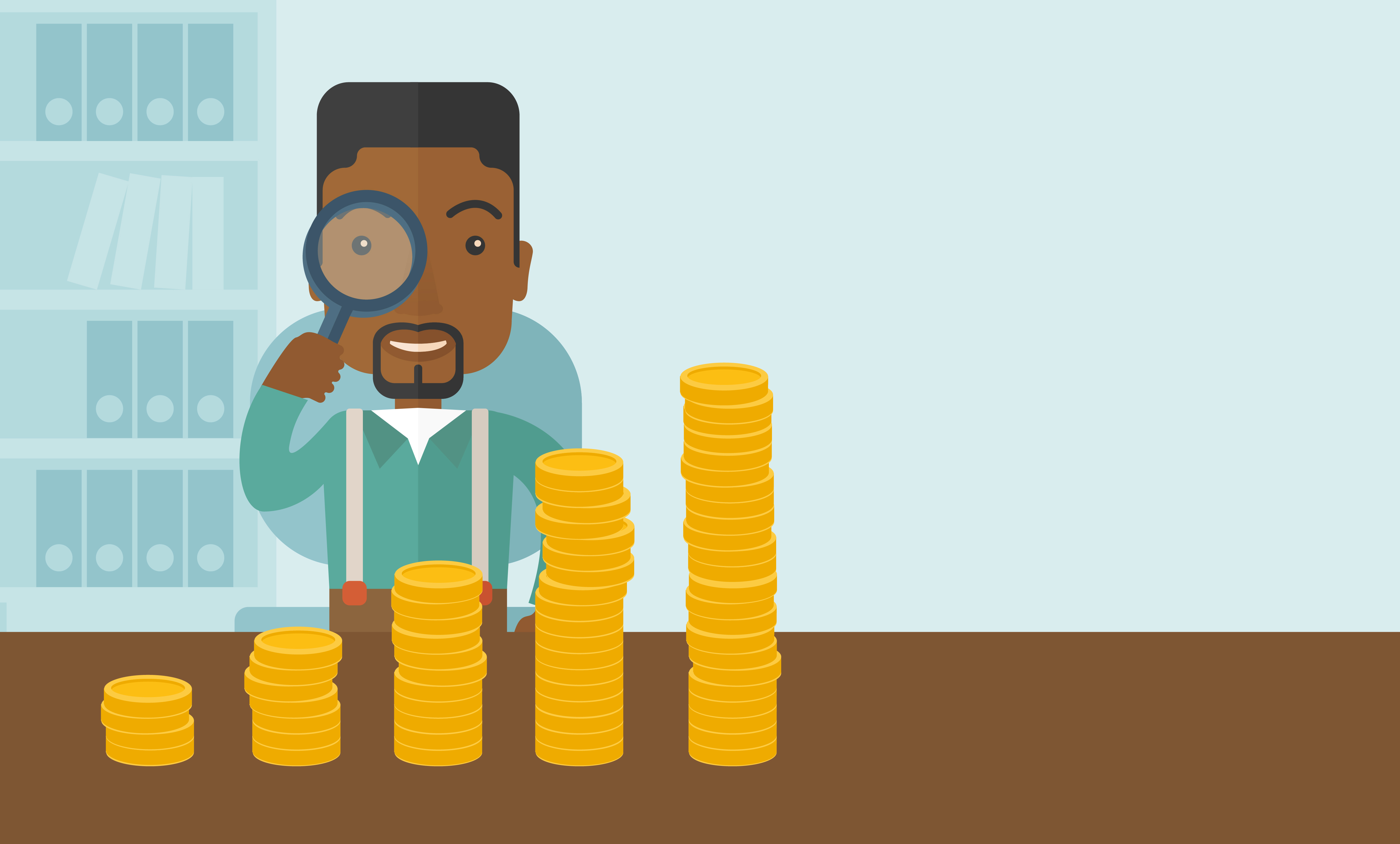 A black man looking his growing business in financial crisis concept. Economy and money, coin and success. A contemporary style with pastel palette soft blue tinted background. Vector flat design illustration. Horizontal layout with text space in right side.